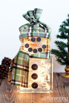 DIY: How to make a lighted glass block snowman {allParenting}