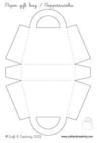 Blank paper gift bag template from Craft And Creativity. Enlarge if you want bigger bags. Blank paper gift bag template from Craft And Creativity. Enlarge if you want bigger bags. Diy Gift Bags Paper, Paper Gifts, Paper Craft, 3d Paper, Origami Bag, Paper Purse, Creative Crafts, Creative Bag, Purses