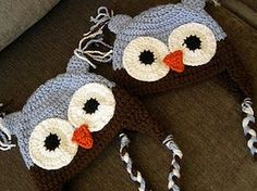 Free Owl Crocheted Hat pattern. Someone please make this for me!