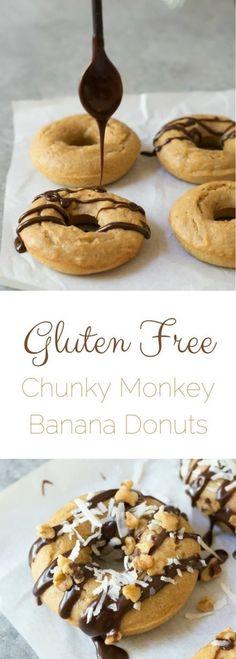 Gluten free banana donuts with chocolate, coconut and walnuts. Chunky monkey donuts. Easy gluten free donuts. Banana recipes. How to make gluten free baked donuts. via @fearlessdining