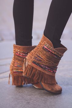 Nothing Can Stop Me Studded Boho Booties (Brown)