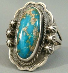*SIGNED* Navajo Old Pawn *BIG* CARICO LAKE Turquoise & Sterling Silver Ring #NavajoOldPawn