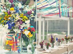 A Colorful Greenhouse Wedding: Jenny + Jamison - wildflowers, ribbons and lots of color ... gorg.