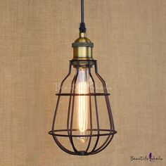 Satin Black 1-Light Wrought Iron Mini Pendant with Wire Cage