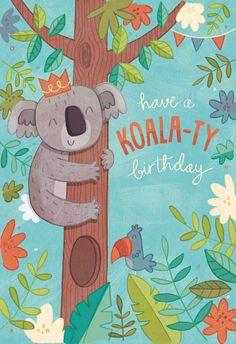 Koala-ty Birthday - Happy Birthday Card  #greetingcards #printable #diy #birthday