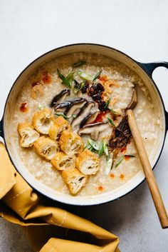 Basic Congee Recipe (jook) - a simple recipe for Chinese rice porridge! Basic Congee Recipe (jook) - a simple recipe for Chinese rice porridge! Rice Recipes, Asian Recipes, Cooking Recipes, Healthy Recipes, Ethnic Recipes, Healthy Food, Rice Porridge, Porridge Recipes, Dried Scallops