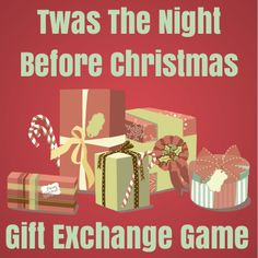 "Great for our Bunko gift exchange! Are you looking for a fun an exciting way to have a Christmas gift exchange? Try playing the ""Twas The Night Before Christmas Gift Exchange Game! Christmas Gift Exchange Games, Xmas Games, Holiday Games, Christmas Party Games, Xmas Party, Christmas Activities, Christmas Traditions, Holiday Fun, Christmas Decorations"