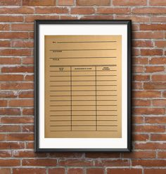 Library Date Due Card Poster, Book Print