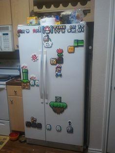 Super Mario World on your fridge, well my fridge (x/post from r/beadsprites)