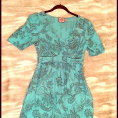 Juicy Couture light blue paisley Dress Never been worn! Perfect condition silk dress! Juicy Couture Dresses