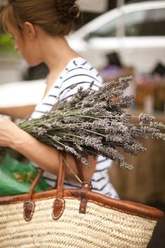 Stripes, lavender, and a woven basket