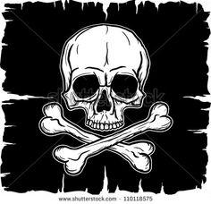 Skull and Crossbones over black flag. Vector illustration. Freehand drawing.