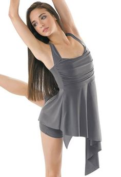 Asymmetrical Matte Jersey Dance Dress; Balera