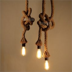 Nordic creative personality retro vintage industrial hemp rope chandelier Cafe American country style bar lamp,hand made lights(China (Mainland))