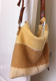 Upcycled Wool Blanket Tote Bag - Cream and Brown. The last one for sale... until I make time to make more...xxx