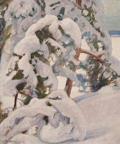 Pekka Halonen (Finnish, 1865-1933) Snowy Pine Trees, Oil on canvas, 60.5 x 50.5 cm.