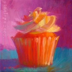 cupcake painting by Penelope Moore. The color and vibrancy is great. Cupcake Painting, Cupcake Art, Orange Cupcakes, Dream Painting, Impressionism Art, Art Pages, Paintings For Sale, Lovers Art, Food Art