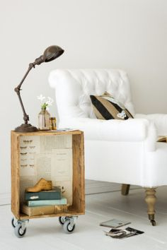 A side table from an old crate Tutorial--this would work for night tables in our bedroom!  Would like to simply put two on top of each other so it would have a center shelf though