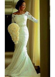 Buy discount Attractive Tulle Bateau Neckline Mermaid Wedding Dresses With Lace Appliques at Dressilyme.com