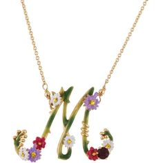 Les Néréides FLORAL LETTERS M NECKLACE ($125) ❤ liked on Polyvore featuring jewelry, necklaces, green, jewelry necklaces, letter necklace, rhinestone heart necklace, leaf necklace, peace sign necklace and initial necklace