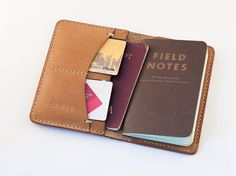 Field Notes Cover Wallet Horween Latigo Tan Leather by SHKIRA