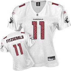 Women Arizona Cardinals 11# Larry Fitzgerald White Jersey