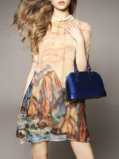 Landscape Pattern Printed Silk #Mini #Dress