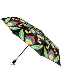 Folk Collection Art Umbrella, Auto Open and Close, Multicolored Floral Pattern on Black Canopy