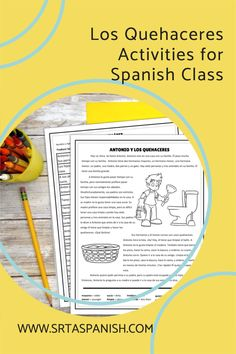 Are you looking for chores activities for your Spanish classes? Check out these activities for practicing los quehaceres in Spanish class! Grab a download for your novice middle school or high school Spanish classes. Reading, writing, listening & speaking activities are all included in this blog post to help you teach los quehaceres or chores in Spanish! Homework, reading a story, and great ideas for lesson plans as you teach clothing in Spanish to your secondary students! Spanish Classroom, Teaching Spanish, Gato Animal, Middle School Spanish, Spanish Lesson Plans, Grammar Skills, Spanish 1, Comprehension Questions, Homework