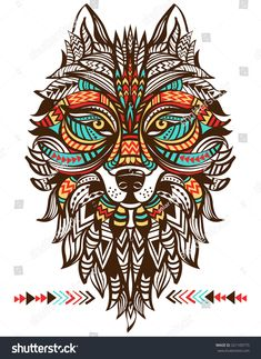 Ethnic totem of a wolf. A tattoo of a wolf with an ornament. Hand … Ethnic totem of a wolf. A tattoo of a wolf with an ornament. Geometric Wolf Tattoo, Abstract Wolf, Indian Wolf, Totem Tattoo, Native American Wolf, Wolf Totem, Tribal Animals, Wolf Images, Wolf Illustration