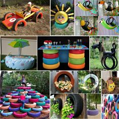 Tire ideas 업사이클링&리사이클링 переработанные шины, старые шины 및 переработка. Backyard Projects, Outdoor Projects, Garden Projects, Tire Playground, Reuse Old Tires, Recycled Tires, Tire Craft, Kind Und Kegel, Tire Garden