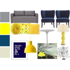 """Navy, Gray and Yellow Living Room Set"" by bekahjoy813 on Polyvore"