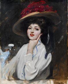 Joaquin Sorolla y Bastida (1863-1923) - Portrait of a young lady in a hat, La bella Raquel