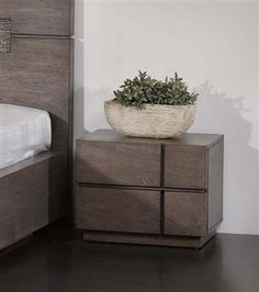 Tokyo Contemporary Wood 2-Drawer Night Stand