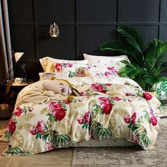 Egyptian Embroidery Cotton Luxury King Queen Size Bedding Set Duvet Co – ATY Home Decor King Size Bedding Sets, Cotton Bedding Sets, Bed Linen Sets, Linen Bedding, Bed Linens, Floral Bedding, King Comforter, Comforter Sets, Pink Bed Covers