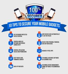 This inforgraphic provides 10 tips to secure your mobile gadgets from viruses, malware and hackers.