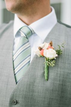 Rose + Seaded Eucalyptus boutonniere.   Photography: Lindsey A. Miller Photography - www.lindseyamiller.com