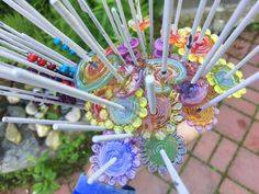 Lampwork glass bead bouquet, farmers market pendant prep. Loved pulling this from the kiln!