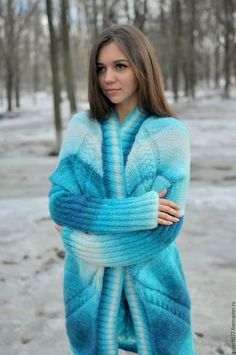 Jules Supervielle, Gros Pull Mohair, Sweaters For Women, Women's Sweaters, Cardigans, Blue Cardigan, Handmade Clothes, Wool Coat, Gorgeous Women
