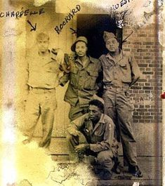 """(PAYING TRIBUTE TO THE BLACK SOLDIER OF WWII)... Corporal JAMES CHAPPELLE, Tech Sgt. ROOKARD, Sgt. L.P. WESTMORLAND and kneeling: pfc. CHARLES CHAVERS - These four GI's, drivers of the 'RED BALL EXPRESS' Summer 1944 France, """"during a quiet moment""""... www.tuskegeeairmenreenactor.com"""
