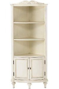 "Hepburn Corner Cabinet, 60"" 2 DOOR, ANTIQUE WHITE by Home Decorators Collection. $429.00. 60.25""H x 26""W x 18""D.. With intricate carved details, a gently rounded shape and elegant turned feet, our Hepburn Corner Cabinet provides a lovely backdrop for books, collectibles and other display items. Fill the open shelves with treasures and store extra items behind the doors at the base. Features 3 shelves and 2 doors. Your choice of antique finishes. Actual size is 60"" 2 DOOR"