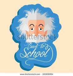 Vector Funny Albert Einstein Cartoon Portrait Isolated - stock vector