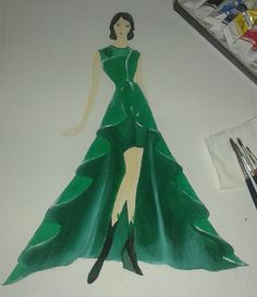 3rd. The third design for stil the same task. I used drapery 'A' line skirt for this dress design. The fabric that use is velvet. Yeah, it will be heavy if you wear, kkk #fashiondesign #dress #velvet
