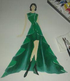 3rd. The third design for stil the same task. I used drapery 'A' line skirt for this dress design. The fabric that use is velvet. Yeah, it will be heavy if you wear, kkk #fashiondesign #dress #velvet