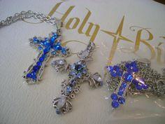 Silver CROSS BLUE RHINESTONEs. Crystals. Jewelry by MyGrandmasHome, $8.00
