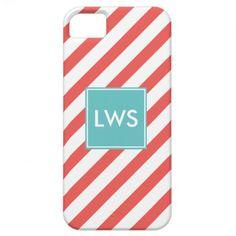 Coral Diagonal Stripes Monogram iPhone 5 Case