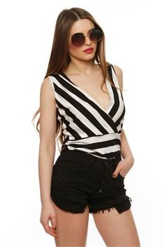 Striped Wrap Top - ΡΟΥΧΑ -> Μπλούζες | Made of Grace