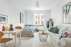 Meubler un studio Studio Apartment Design, Small Studio Apartments, Studio Apartment Decorating, Cool Apartments, Studio Design, Luxury Apartments, One Room Apartment, Apartment Interior, Apartment Living