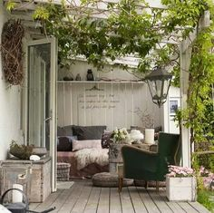 Very cozy corner on the terrace. Also ideal for the winter garden. While historical with Outdoor Areas, Outdoor Rooms, Outdoor Living, Outdoor Decor, Outdoor Furniture, Porch Garden, Home And Garden, Pergola Patio, Backyard