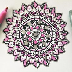 Love me some pink  Just a little pink, black and silver mandala �